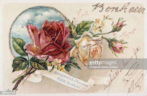 French postcard with floral elements 1900