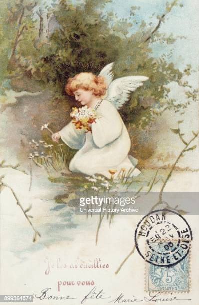 French postcard with images of an angel with flowers 1900