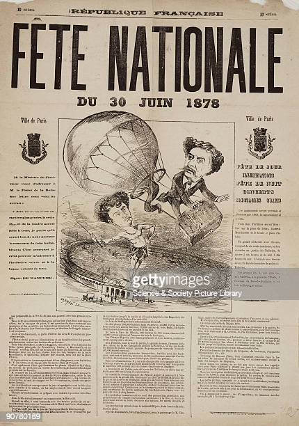 French poster advertising events in Paris for the National Fete on 30 June 1878 promising illuminations during the day and free concerts and...