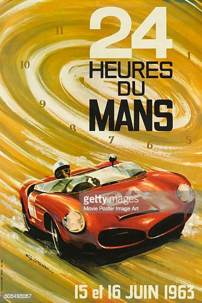 A French poster by G Leygnac for the racing event 24 Hours of Le Mans in June 1963 The poster features a red Ferrari Dino