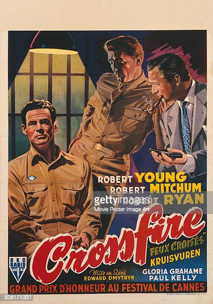 French poster for Edward Dmytryk's 1947 crime film 'Crossfire' starring Robert Young, Robert Mitchum, and Robert Ryan.