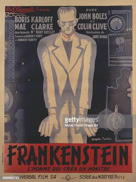 French poster for James Whale's 1931 horror film 'Frankenstein' starring Boris Karloff.