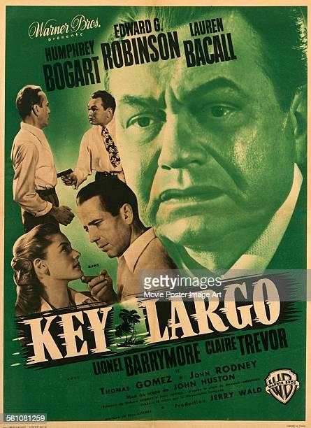 A French poster for John Huston's 1948 crime film 'Key Largo' starring Humphrey Bogart Edward G Robinson and Lauren Bacall
