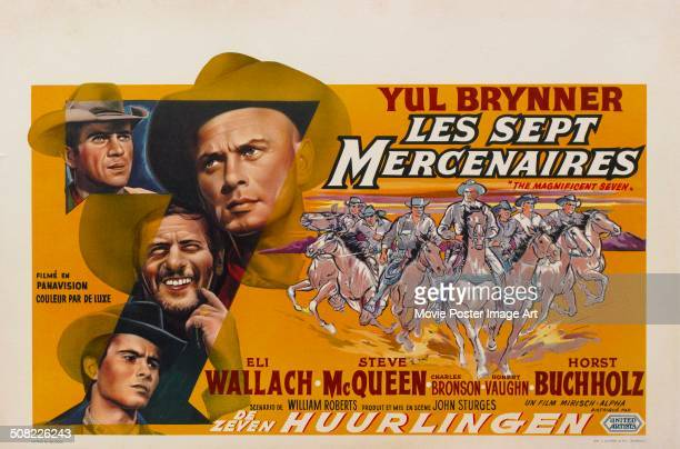 French poster for John Sturges' 1960 western 'The Magnificent Seven', aka 'Les Sept Mercenaires', starring Yul Brynner, Steve McQueen, and Eli...