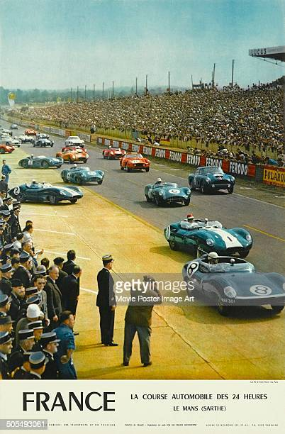 A French poster for the racing event 24 Hours of Le Mans in June 1960