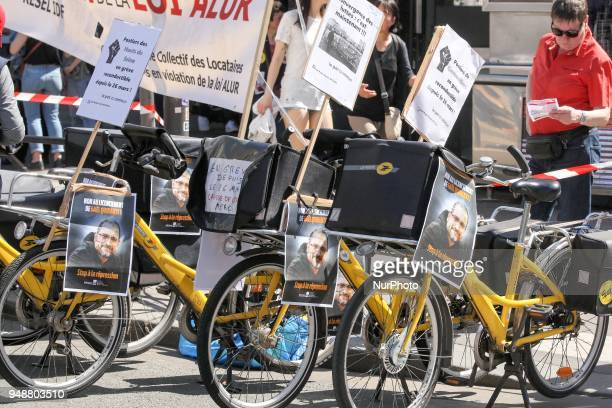 French postmen take part in a demonstration on April 19 2018 in Paris as part of a multi branch day of protest called by French unions CGT and...