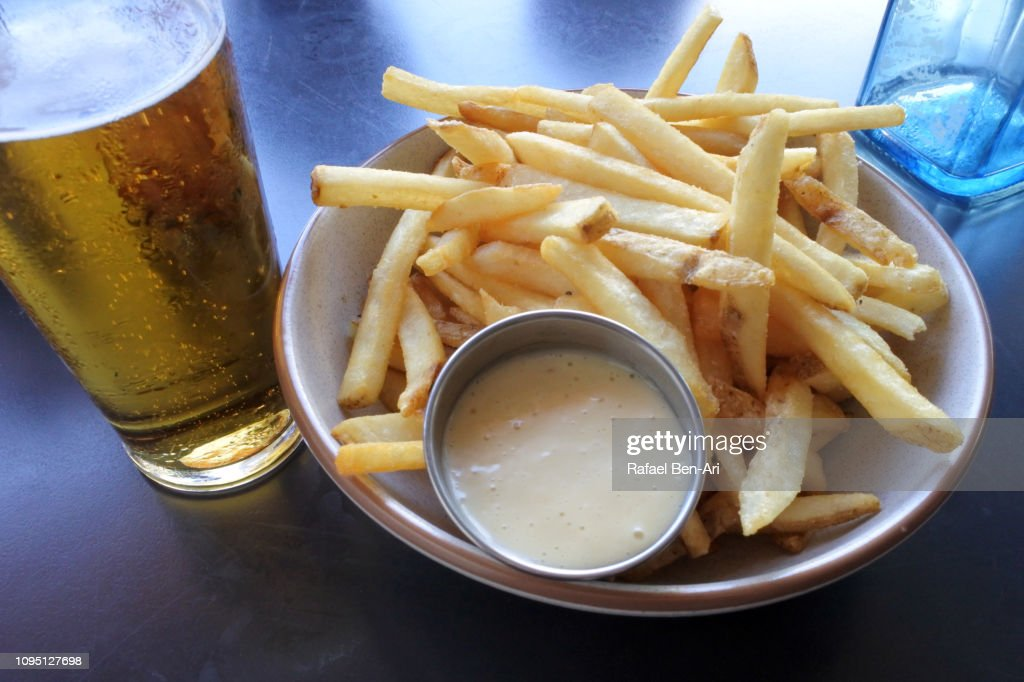 French Potatoes Served white Beer Drink : Stock Photo