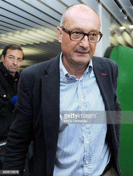 French poultry export firm TillySabco CEO Daniel Sauvaget arrives for a press conference on September 22 2014 in Guerlesquin western of France within...
