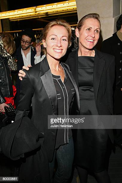 French presenter TV AnneSophie Lapix and Valerie Hermann attend the opening of the Yves Saint Laurent new store on February 25 2008 in Paris France