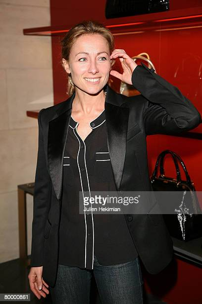 French presenter TV AnneSophie Lapix attends the opening of the Yves Saint Laurent new store on February 25 2008 in Paris France