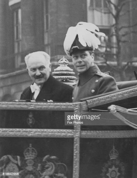 French president Albert François Lebrun with King George VI in the state coach upon his arrival in London 21st March 1939