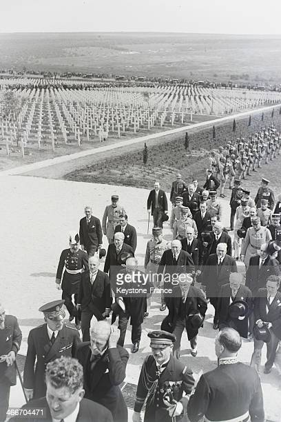 French President Albert Lebrun inaugurates the Douaumont ossuary a memorial containing the remains of soldiers who died on the battlefield during the...
