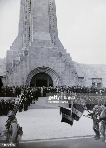 French President Albert Lebrun on an official visit of the Douaumont Ossuary gathering the remains of soldiers killed during the First World War with...