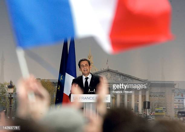 French President and rightwing ruling party Union for a Popular Movement candidate for the French 2012 presidential election Nicolas Sarkozy delivers...