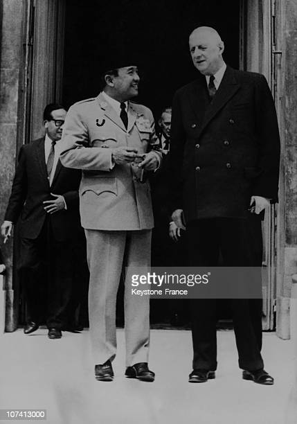 French President Charles De Gaulle And Indosian President Soekarno On June 21St 1963 In Elysee Palace