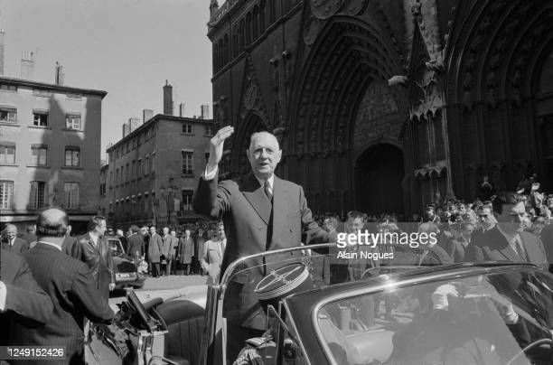 French President Charles de Gaulle during a visit to Lyon.