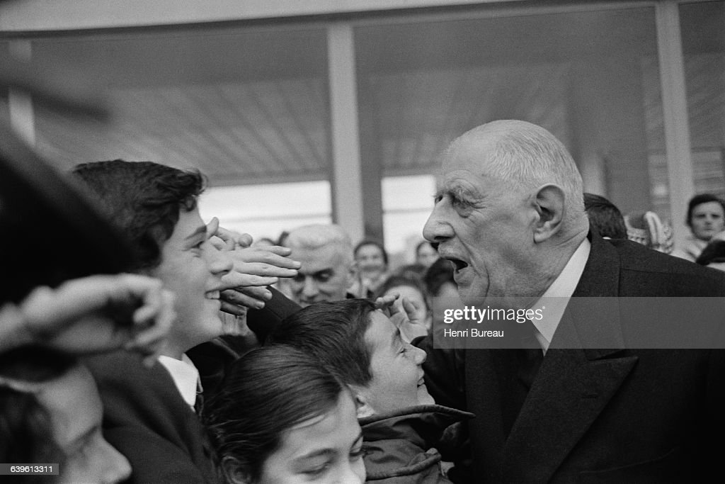 French President Charles de Gaulle during a visit to Rennes, in Brittany. It would be his first trip to the coutryside as Chief of State.