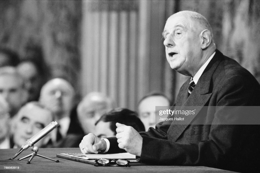 French President Charles de Gaulle gives press conference.