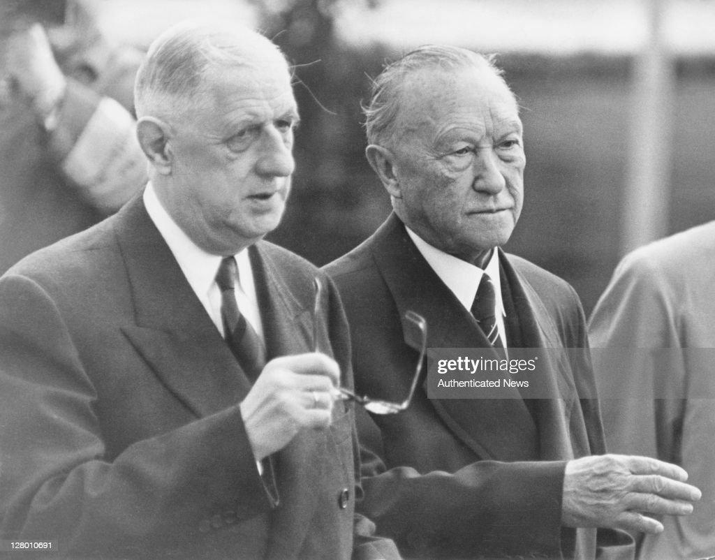 Adenauer Meets De Gaulle : News Photo