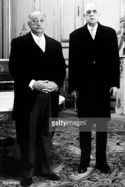 French President Charles de Gaulle meets Guatemalan ambassador to France Miguel Angel Asturias after receiving his credentials at the Elysee Palace...