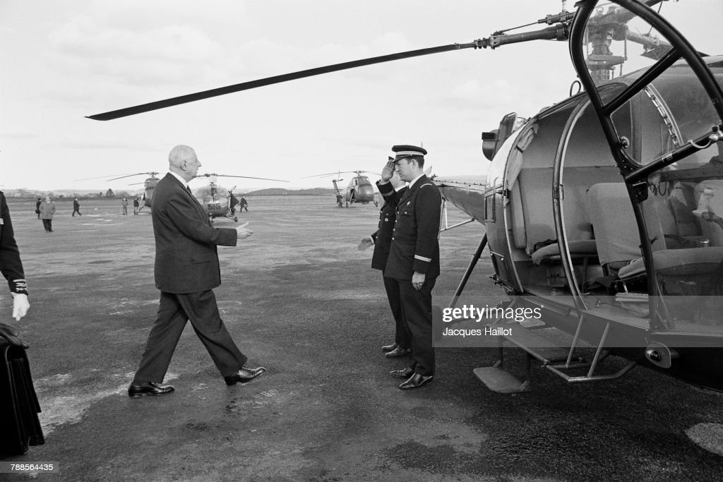 French President Charles de Gaulle on visit in Brittany.