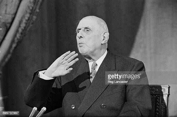 French President Charles de Gaulle speaking in Paris about Britain's entry into the Common Market 28th November 1967