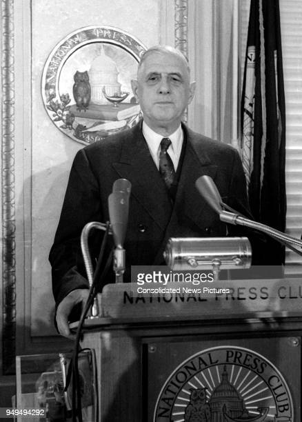 French President Charles de Gaulle speaks at the National Press Club, Washington DC, April 23, 1960.