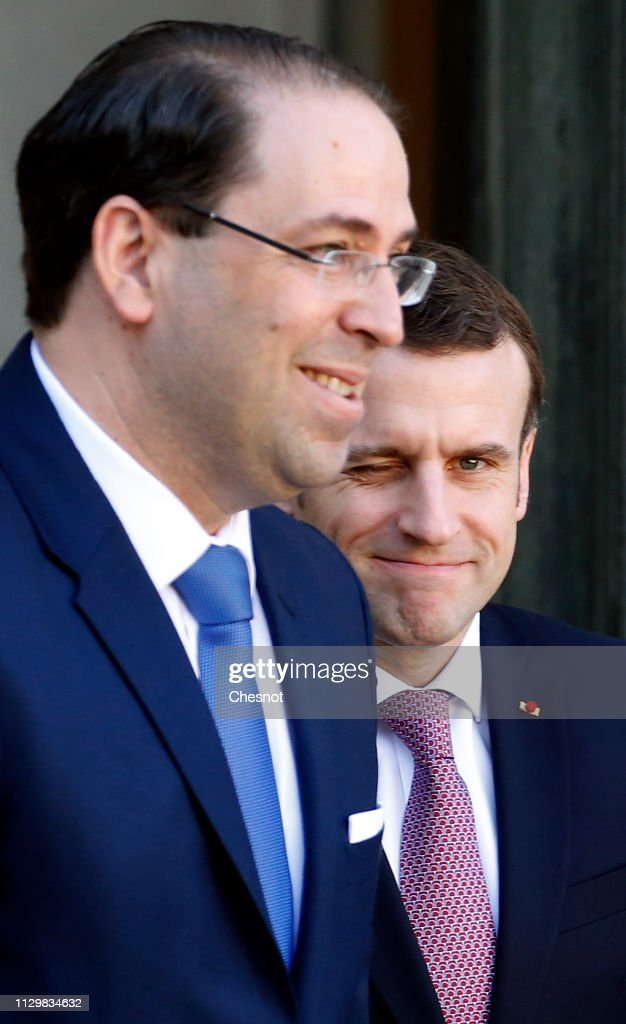 FRA: French President Emmanuel Macron Receives Youssef Chahed, Prime Minister Of Tunisia At Elysee Palace In Paris