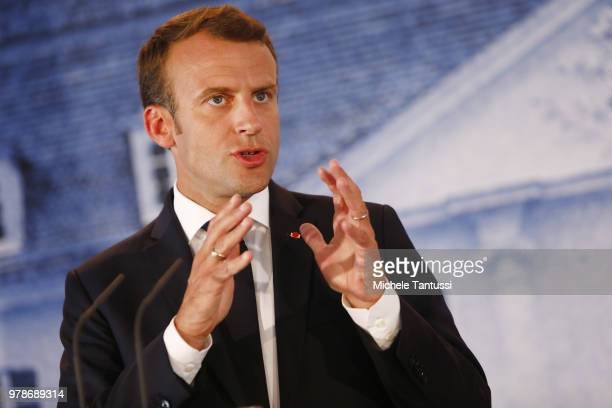 French President Emmanuel Macron address the media during a joint press conference with German Chancellor at Schloss Meseberg governmental palace...