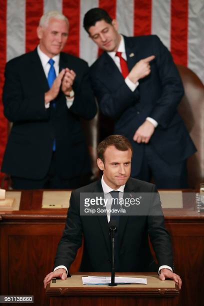 French President Emmanuel Macron addresses a joint meeting of the US Congress in the House Chamber with US Vice President Mike Pence and Speaker of...