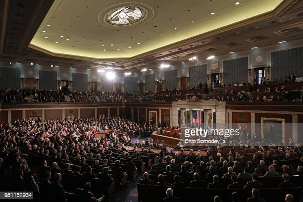 French President Emmanuel Macron addresses a joint meeting of the US Congress in the House Chamber at the US Capitol April 25 2018 in Washington DC...