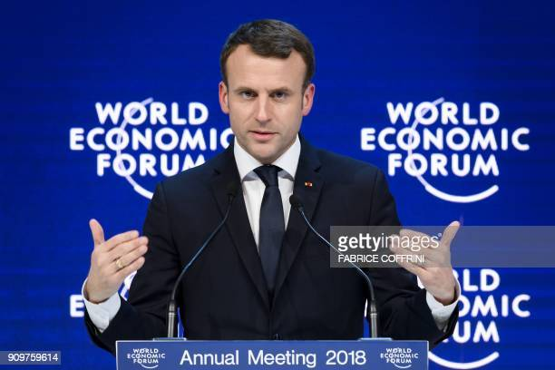 French President Emmanuel Macron addresses the annual World Economic Forum on January 24 2018 in Davos eastern Switzerland / AFP PHOTO / Fabrice...