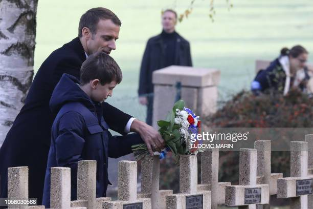 French president Emmanuel Macron and a relative of Lieutenant Robert Porchon, brother-in-arms of French writer Maurice Genevoix killed during World...
