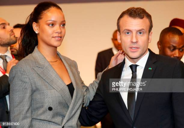 French President Emmanuel Macron and Barbadian singer Rihanna attend the conference 'GPE Financing Conference an Investment in the Future' organised...