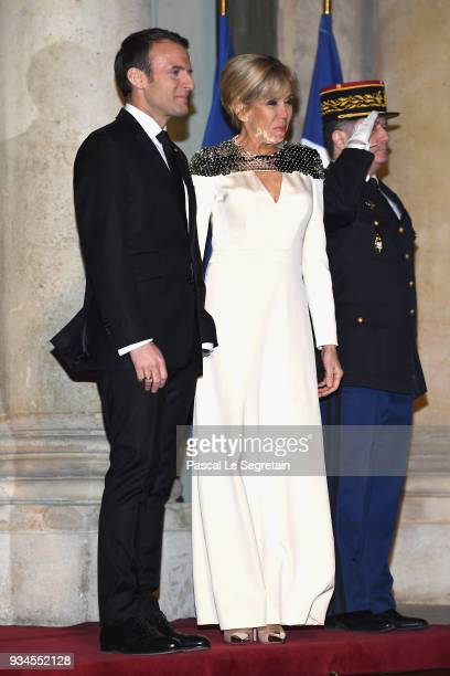 French President Emmanuel Macron and Brigitte Macron attend a State dinner at the Elysee Palace on March 19 2018 in Paris France The Duke and Duchess...
