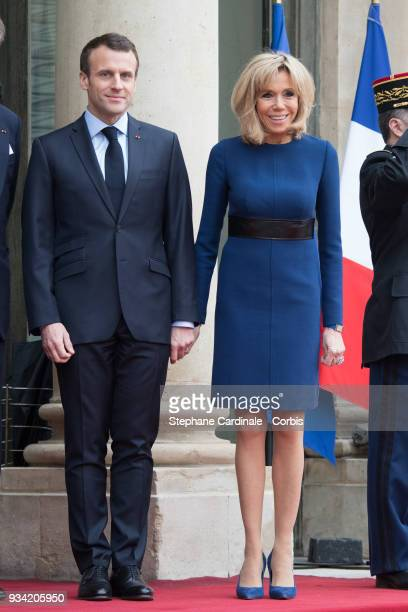 French President Emmanuel Macron and Brigitte Macron pose in the courtyard of Elysee Palace on March 19 2018 in Paris France GrandDuke Henri Of...