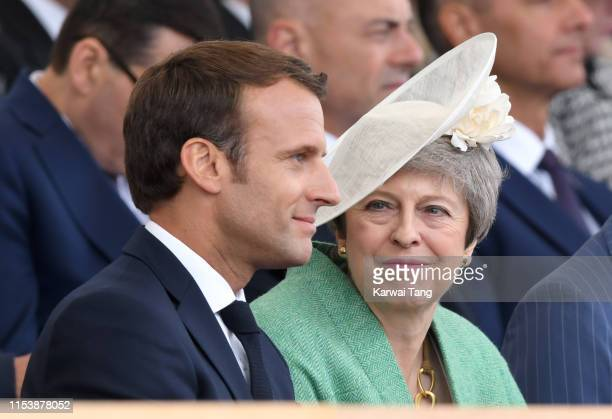French President Emmanuel Macron and Britain's Prime Minster Theresa May attend the DDay75 National Commemorative Event to mark the 75th Anniversary...