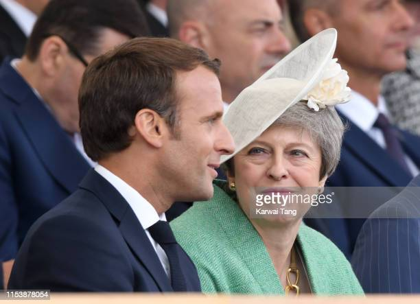 French President Emmanuel Macron and Britain's Prime Minster Theresa May attend the D-Day75 National Commemorative Event to mark the 75th Anniversary...