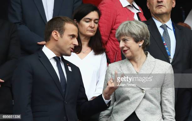 French President Emmanuel Macron and British Prime Minister Theresa May in discussion prior to the International Friendly match between France and...