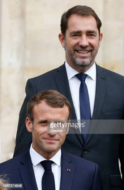 French President Emmanuel Macron and Christophe Castaner newlynamed French Interior Minister pose for a family photo with members of the government...