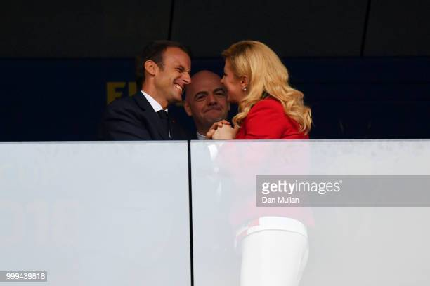 French President Emmanuel Macron and Croatia's President Kolinda GrabarKitarovic are seen during the 2018 FIFA World Cup Final between France and...