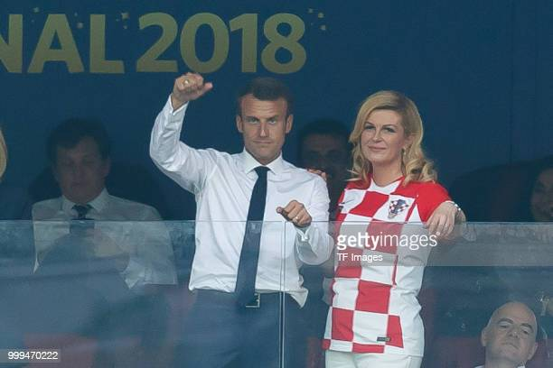 French President Emmanuel Macron and Croatia's President Kolinda GrabarKitarovic looks on during the 2018 FIFA World Cup Russia Final between France...