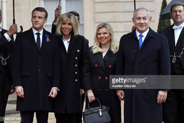 French President Emmanuel Macron and French First Lady Brigitte Macron welcome Prime Minister of Israel Benjamin Netanyahu and his wife Sara...