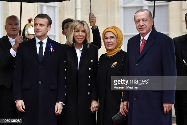French President Emmanuel Macron and French First Lady Brigitte Macron welcome Recep Tayyip Erdogan President of Turkey and his wife Emine Erdogan...