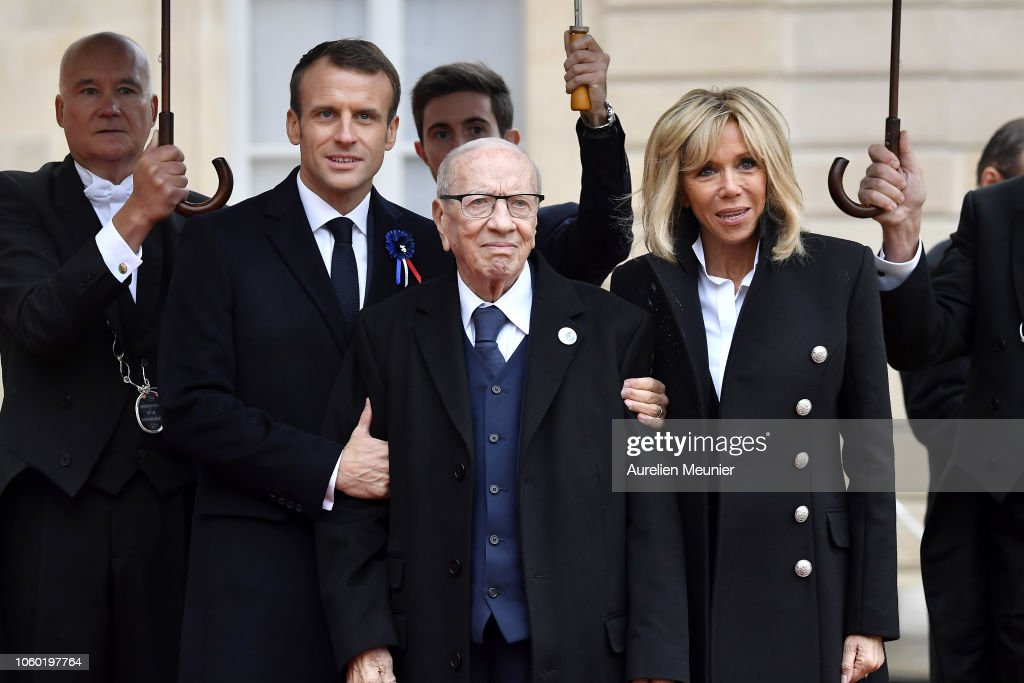 French President Emmanuel Macron Welcomes Heads Of State For The Commemoration Of The 100th Anniversary Of The End Of WWI : News Photo