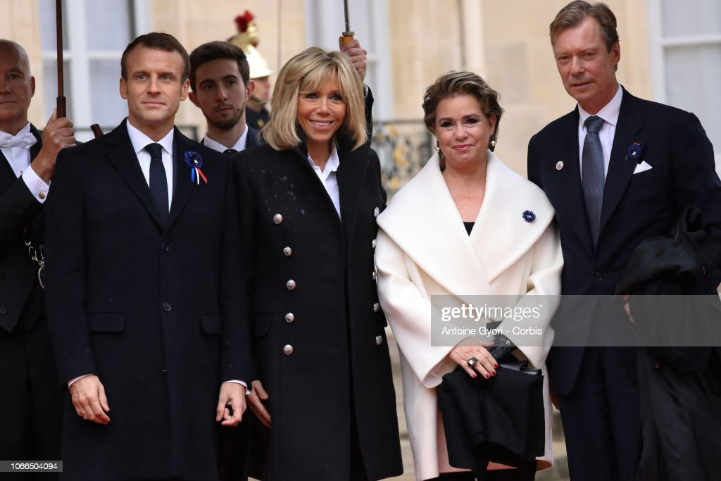 French President Emmanuel Macron Welcomes Head Of States For The Commemoration Of The 100th Anniversary Of The End Of WWI : Nieuwsfoto's