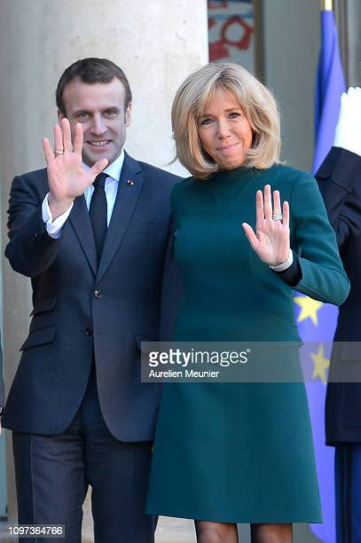 French President Emmanuel Macron and French First Lady Brigitte Macron welcome Quebec Prime Minister Francois Legault and his wife Isabelle Brais for...