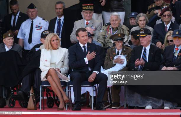 French President Emmanuel Macron and French First Lady Brigitte Macron attend the main ceremony to mark the 75th anniversary of the World War II...