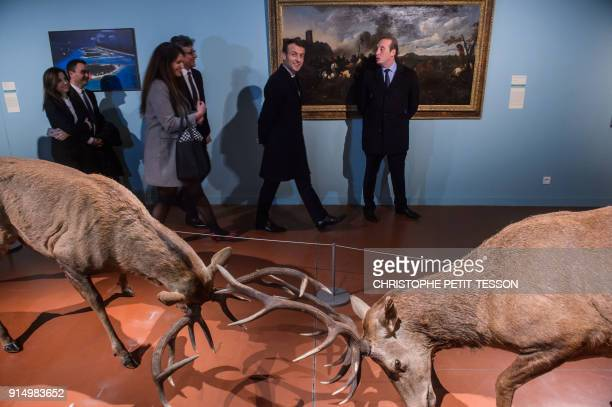 French President Emmanuel Macron and French Junior Minister for Gender Equality Marlene Schiappa visit the Fesch Museum in Ajaccio on the French...