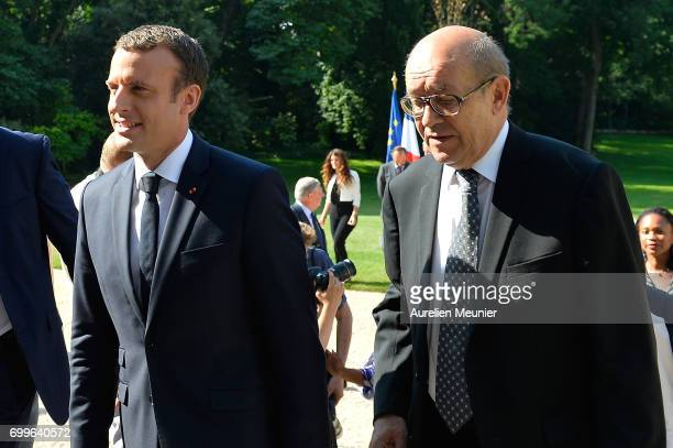 French President Emmanuel Macron and French Minister of Foreign Affairs Emmanuel Macron leave after the Gouvernment photo before the weekly cabinet...